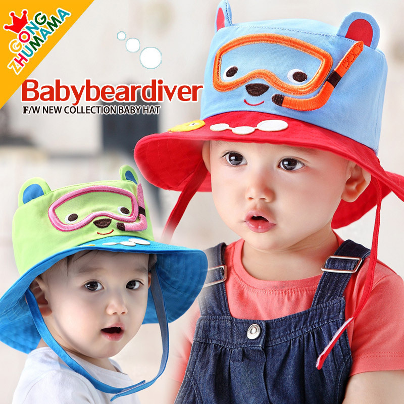 Spring Cotton Baseball Caps For Children Kids Swim Pattern Boys Girls Summer Hats Wide Side 1-3 Years Old Baby Hat Brand New(China (Mainland))