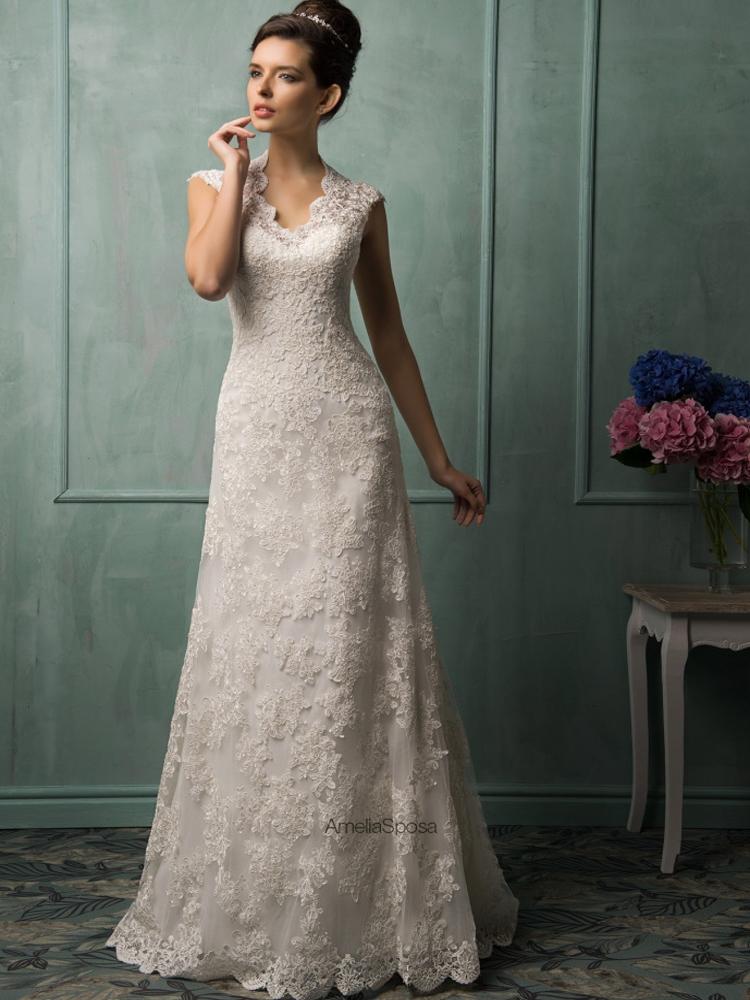 New elegant cap sleeve v neck open back lace wedding for Cap sleeve open back wedding dress