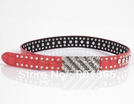 Women's Leather Buckle Belts Fashion Rhinestone Belt Female Strap