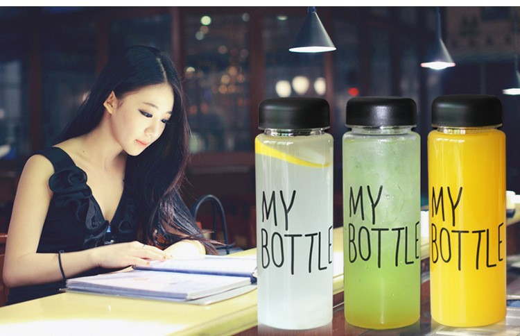 500ml Korea Style Newest Design Portable Clear My Bottle Sport Bicycle Plastic Fruit Lemon Juice Water Cup(China (Mainland))
