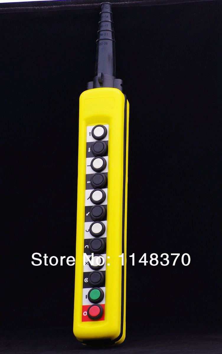 5A 12 Pushbuttons Single Speed Hoist Crane Pendant Control Stations With Emergency Stop For circuits Double insulated XAC-A1271<br><br>Aliexpress