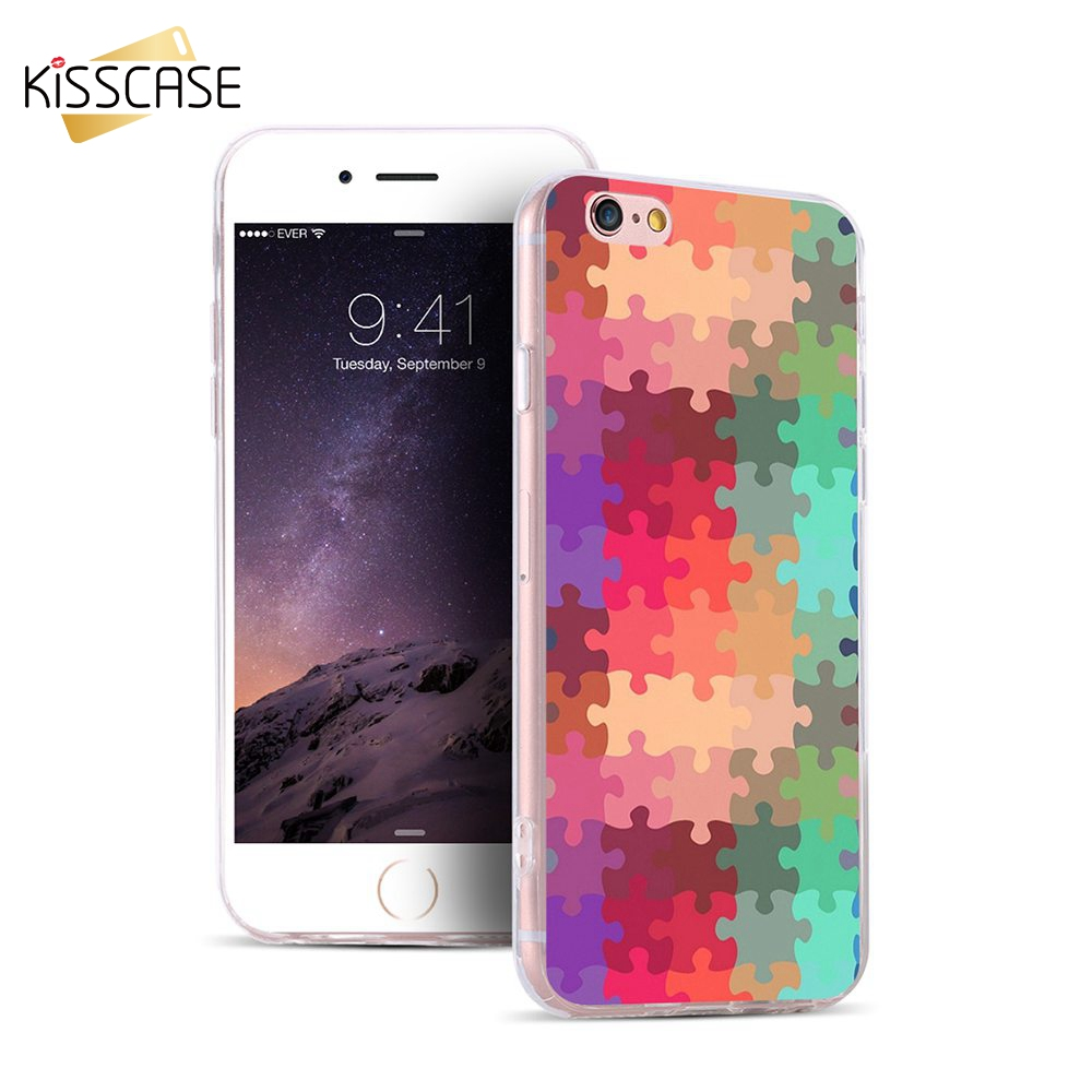 KISSCASE For iPhone 7 6 6s Plus 5s SE Case Colorful Puzzle Print For Samsung S5 S6 S7 Edge Plus Note 5 Back Gel Rubber TPU Case(China (Mainland))