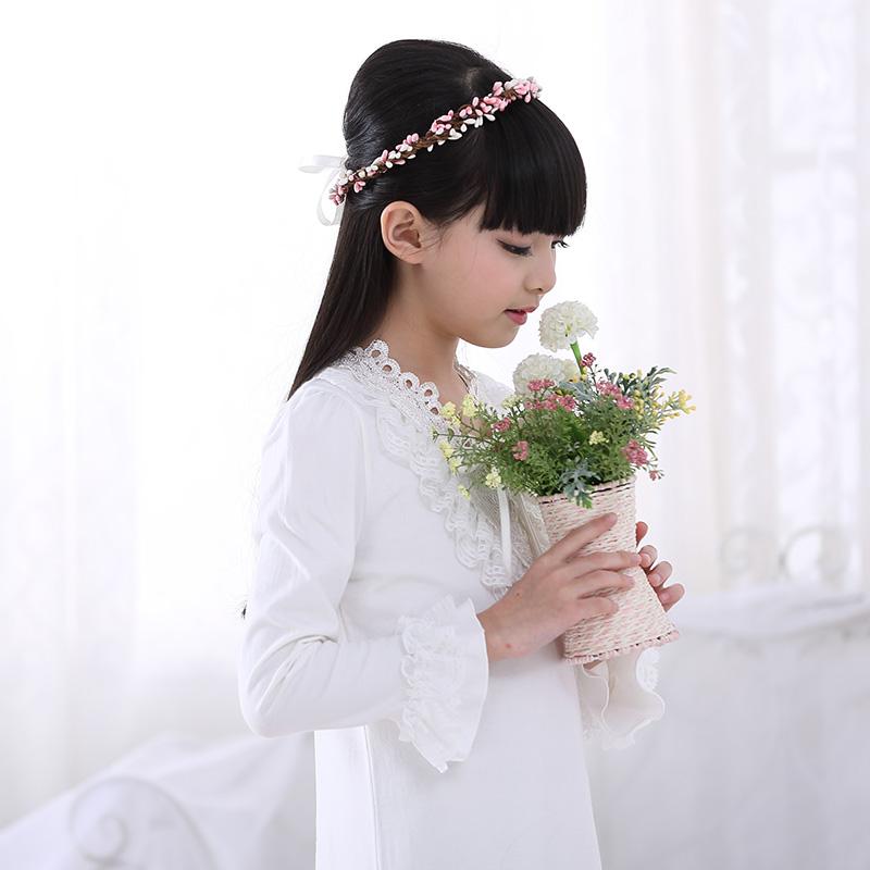 Free Shipping Cotton Nightgown Princess Nightdress Royal pijama Ladies Sleepwear Long White girl kids nightwear roupao feminino(China (Mainland))