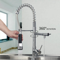 Ouboni 97168/1 Chrome Pull out Down Spray Deck Mount Double Handles Basin Sink Vessel Kitchen Torneira Cozinha Tap Mixer Faucet