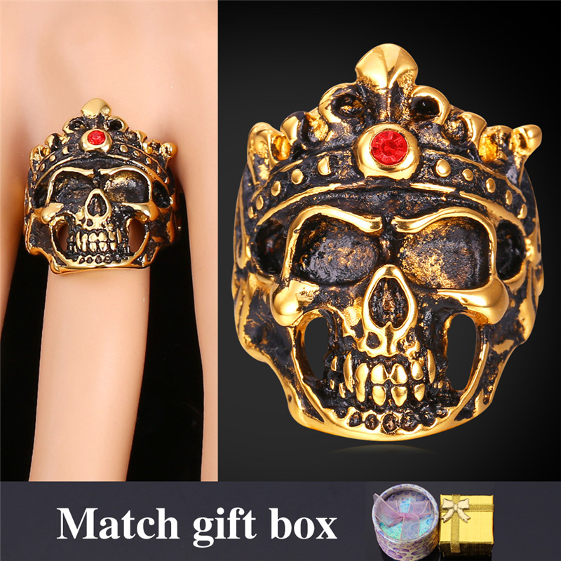 Punk Rings Men's Jewelry With Gift Box Wholesale Gold Plated/Stainless Steel King Head Big Skeleton Ring GR1546(China (Mainland))