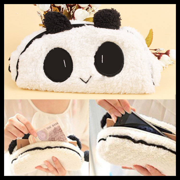 Fashion Cute Panda Soft Plush Fancy Pencil Case Pen Pocket Cosmetic Makeup Zipper Bag Pouch Drop Shipping OSS-0018(China (Mainland))