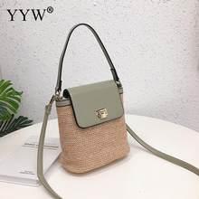 Bolso de playa de paja de verano verde para mujer bolso de mano tejido y monedero nuevo 2019 cabestrillo bolso de hombro Bolsa femenina negro(China)