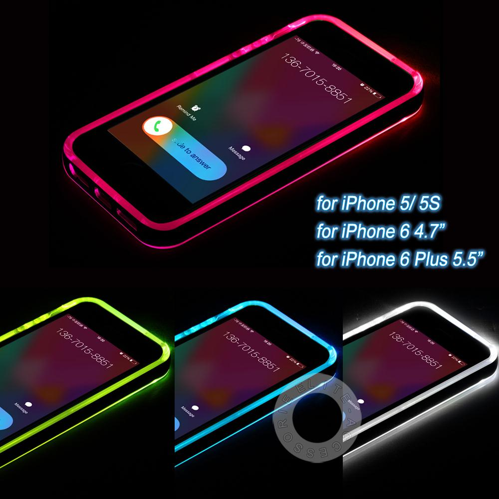"""New Cheap TPU+PC LED Flash Light Up Case Remind Incoming Call Cover for Apple iPhone 5 5S 6 6S 4.7"""" 6 6S Plus 5.5""""(China (Mainland))"""