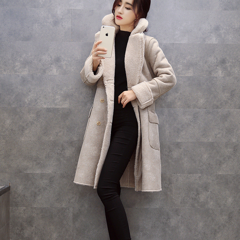 Cotton padded jacket Winter women thick wool suede jacket coat long section Slim female parka women winter outerwear TT279