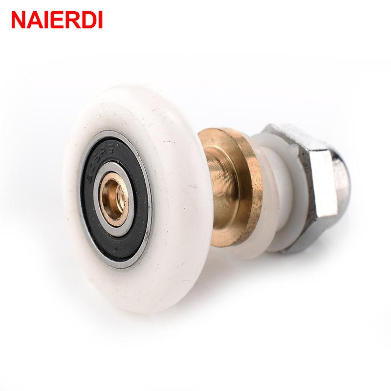 5PCS NAIERDI Stainless Steel Brass Shower Wheel Door Rollers Runners Rubber Wheels Pulleys For Bathroom Fixture