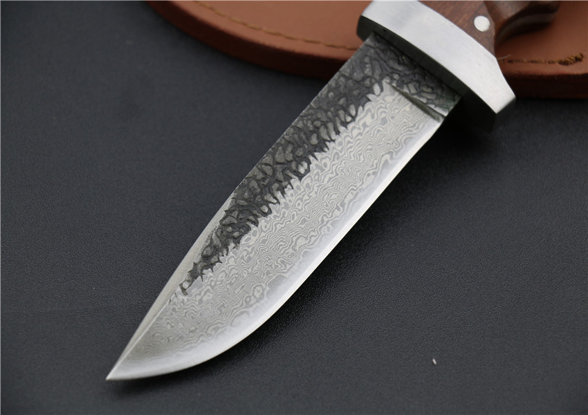 Buy Hand Made Hunting Tactical Damascus Knife Wood Handle 60HRC Fixed Blade Knife Rescue Tool With Leather Case Wi cheap