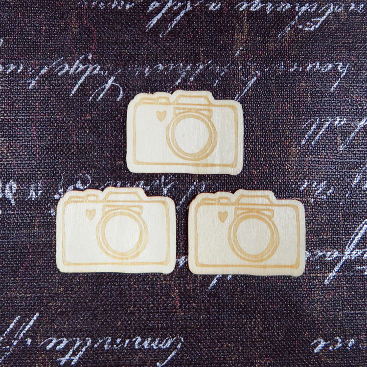 2015 HOT Products 100pcs Travel Theme Wood Veneer Camera Crafts, Home Decoration DIY Wood Shapes Craft, Free Shipping(China (Mainland))