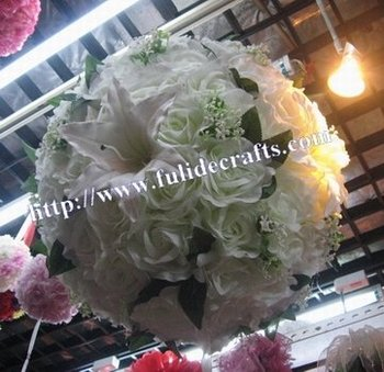 silk kissing wedding artificial flower ball-60cm foam center