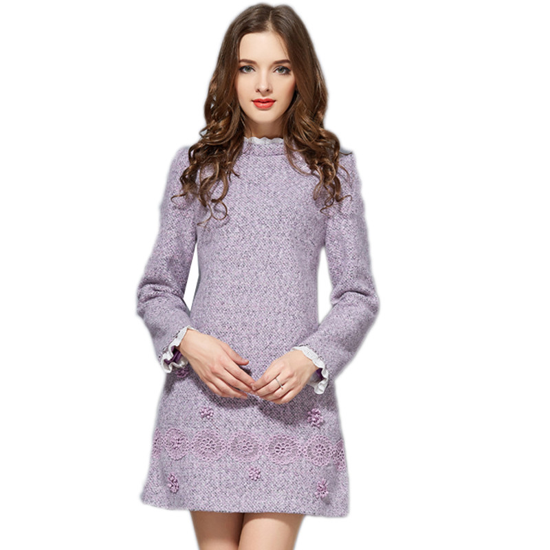 New Lace OL Business Dresses Work Wear A-line Lavender Slim Warm Winter Dress Plus Size Womens Clothing Lanon woolen Embroidery(China (Mainland))