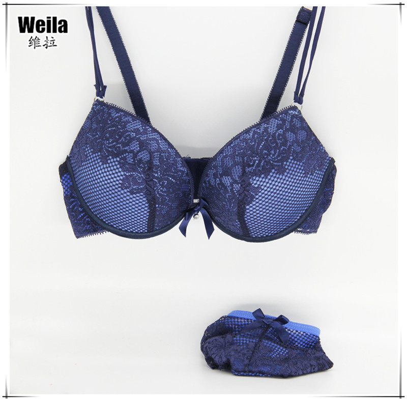 New 2015 Fashion lace bra brief sets sexy thin deep V-neck push up bra set Big Size Cup B C lingerie Six Color Free Shipping(China (Mainland))