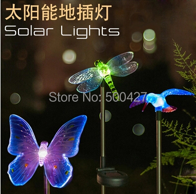 10pcs High quality Solar Butterfly dragonfly kingfisher lightsCreative LED lawn color landscape outdoor decoration street light(China (Mainland))