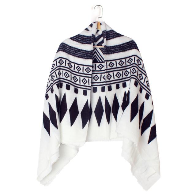 2016 новое поступление зима мода женщин евро черный белый цвет геометрия ромба пола пластины толщиной теплый шарф марка платки