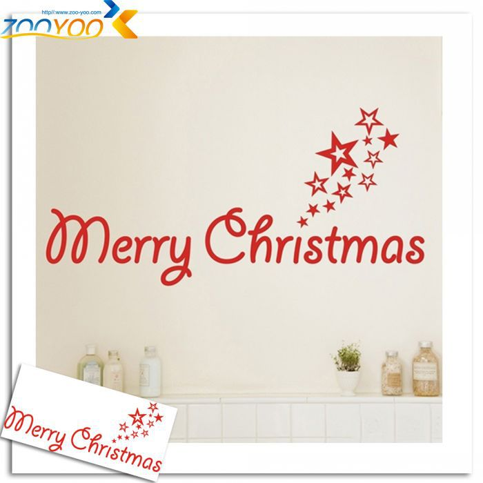 ZooYoo Little Star Merry Christmas Wall Stickers Glass Stickers Merry Christmas Wall Decals Vinyl Festival Decoration Removable(China (Mainland))