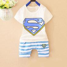 2016 Superman Summer baby sets infant clothing set Cotton short sleeve Harem Pants 2pcs/set baby boy girl clothes freeshipping(China (Mainland))