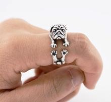 Drop Shippingจริงรูปภาพวินเทจสีเงินรักปั๊กแหวนAnillos Boho Anelสุนัขสนับมือทองเหลืองแหวนสำหรับผู้หญิงAneisผู้ชายเครื่องประดับ