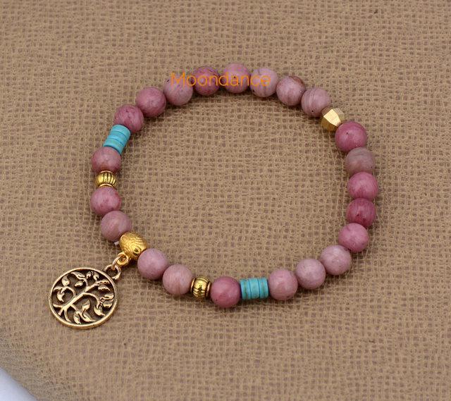 6MM Natural Stones With Tree of Life Charm Bead Bracelets Stretched Yoga Bangles Bracelets Bohemia Bracelet(China (Mainland))
