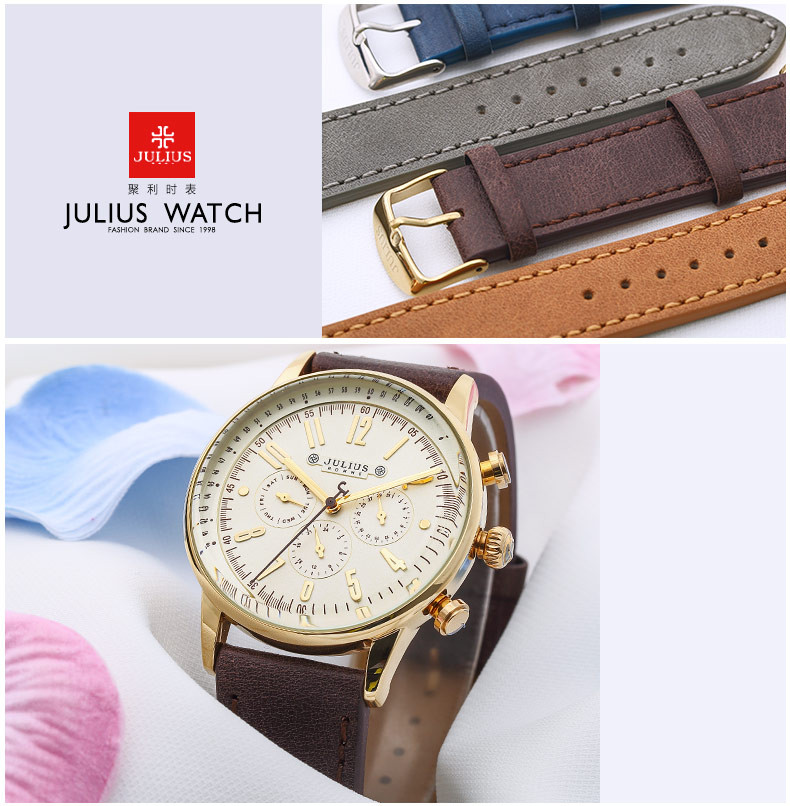 Real Three Dial Men's Watch Hours Swis Movt Clock Business Dress Bracelet Leather Sport Boy Birthday Christmas Gift Box 094
