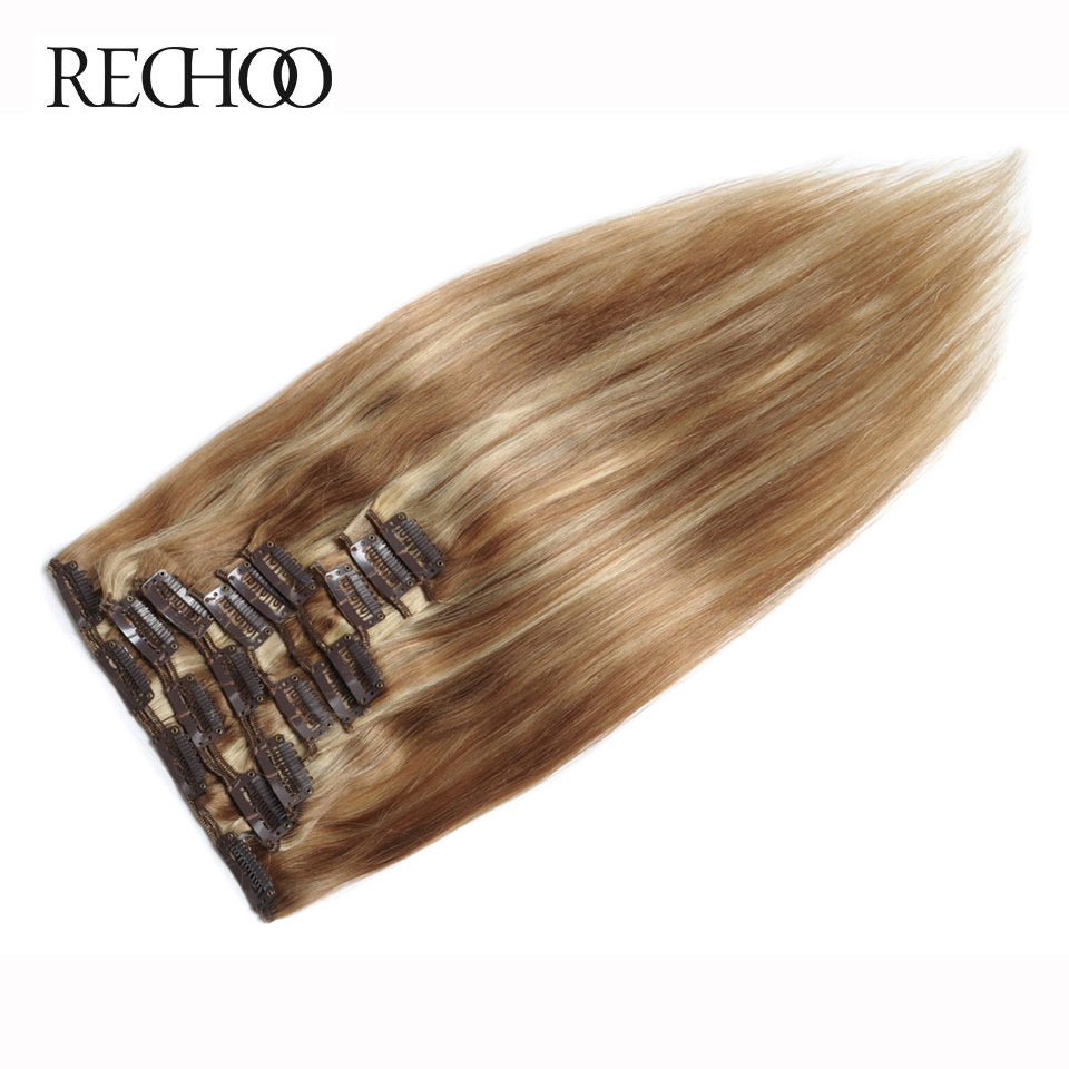 Rechoo 7Pcs 120g Brazilian Straight can Dyed Human Non-remy Hair Piano Color #27/613 Full Head Clip Extensions
