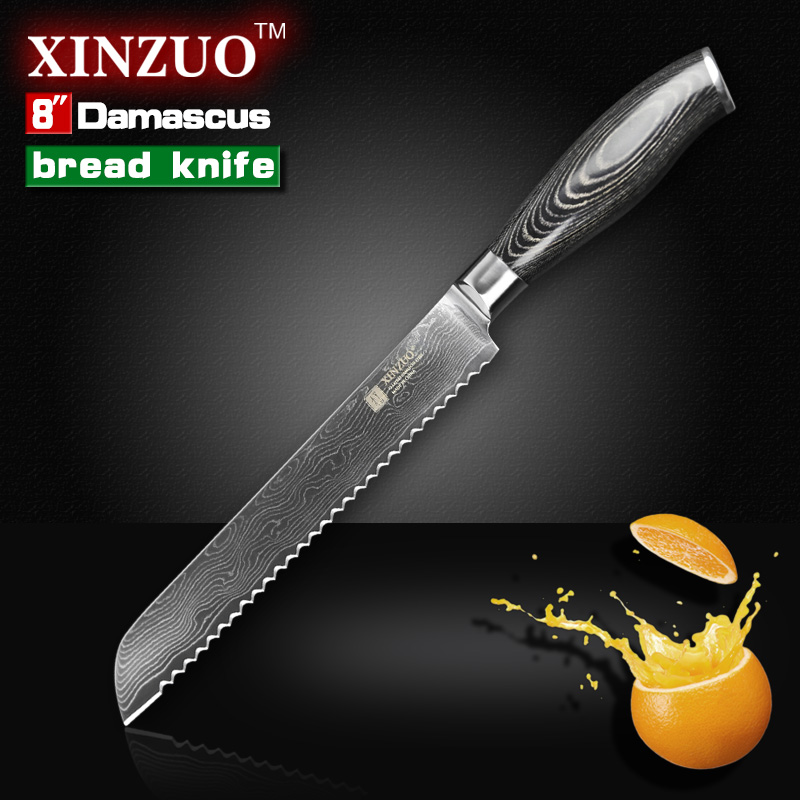 xinzuo 8 inches bread knife damascus kitchen chef knives sharp hard japanese vg10 cake knife. Black Bedroom Furniture Sets. Home Design Ideas
