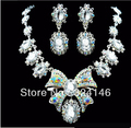 New Trendy Multicolour Crystal Pendant Wedding jewellery set Red Rhinestone jewelry set for Women Wedding hair