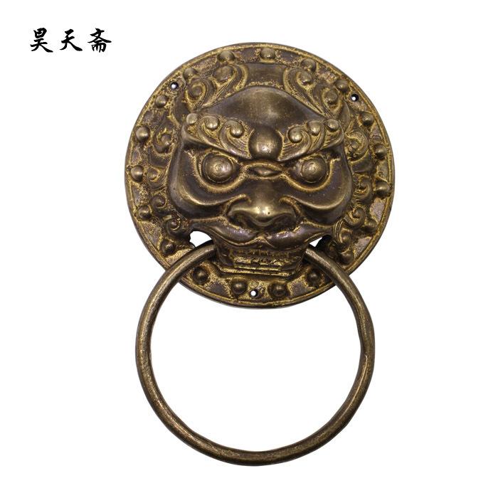 [Haotian vegetarian] Ancient Chinese bronze animal head door knocker copper ring handle copper door handle lion paragraph<br><br>Aliexpress
