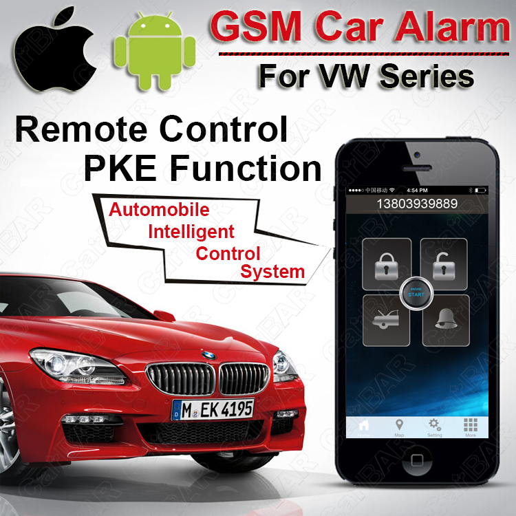 Top Quality PKE GSM Car Alarm for VW SKoda Seat Series Start Stop Button Keyless Go System Fence Speed SMS Shock Alarm CARBAR(China (Mainland))