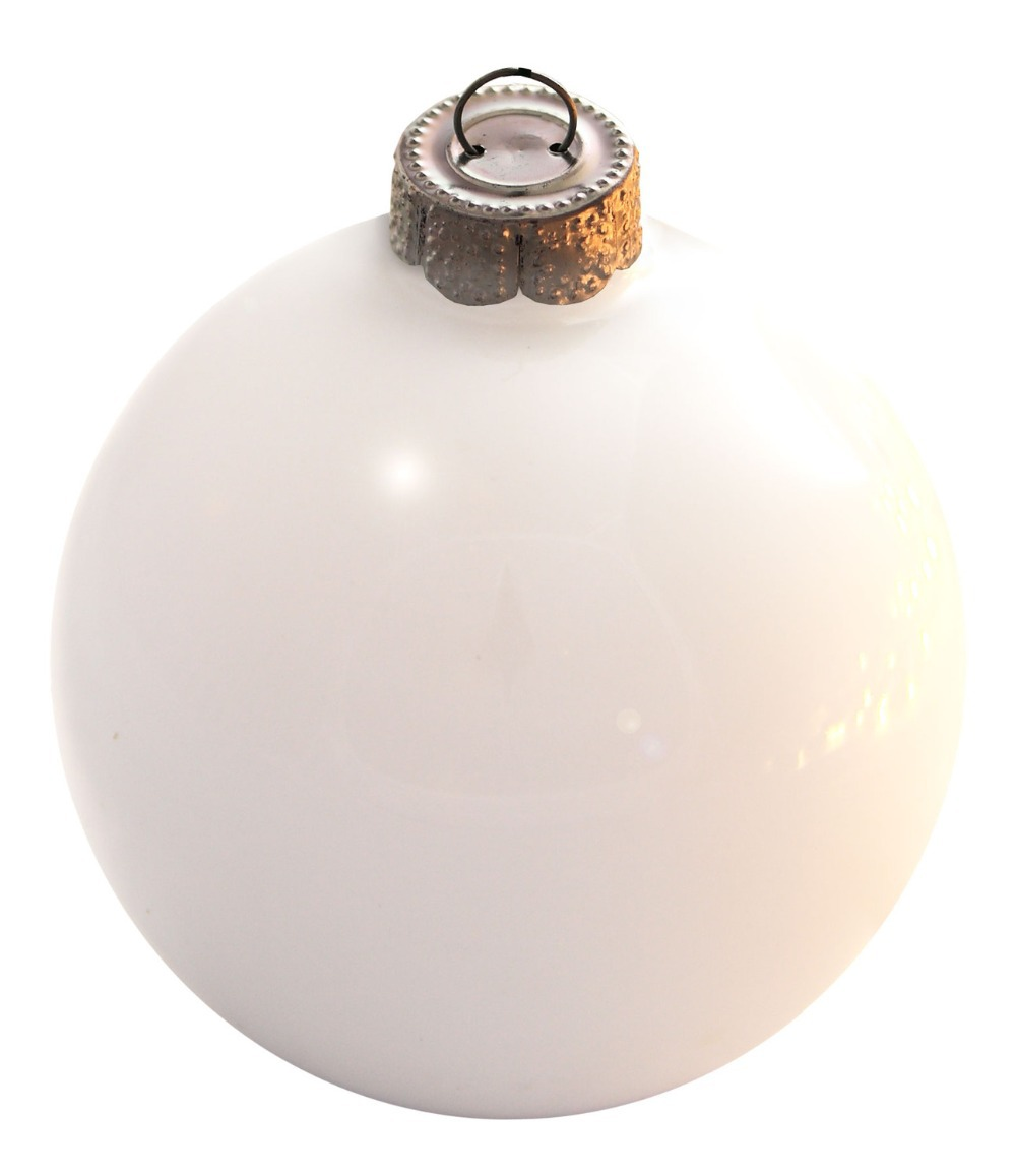 Clear glass ball ornaments - Free Shipping Event Party Bauble Ornaments Christmas Xmas Tree Glass Balls Decoration 80mm Polar White Ball