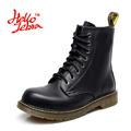 Hellozebra Classic Martin Boots Unisex Women Tactical Boot Leather High top Lace Up Solid 2017 Summer