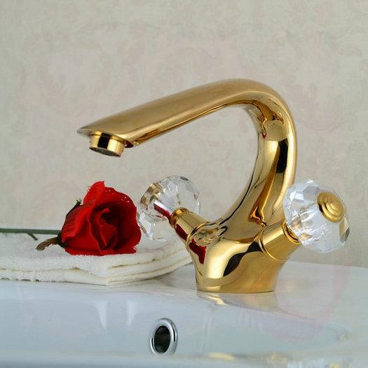 Golden Polished Bathroom Basin Sink Mixer Tap Swan Style Crystal Handles Faucet porta prato mesa(China (Mainland))