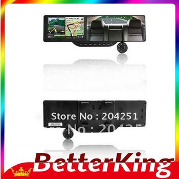 """5"""" Resistive 720P 3MP CMOS Wide Angle Car DVR + WinCE 6.0 GPS Navigator + Rearview Mirror+Freeshipping"""