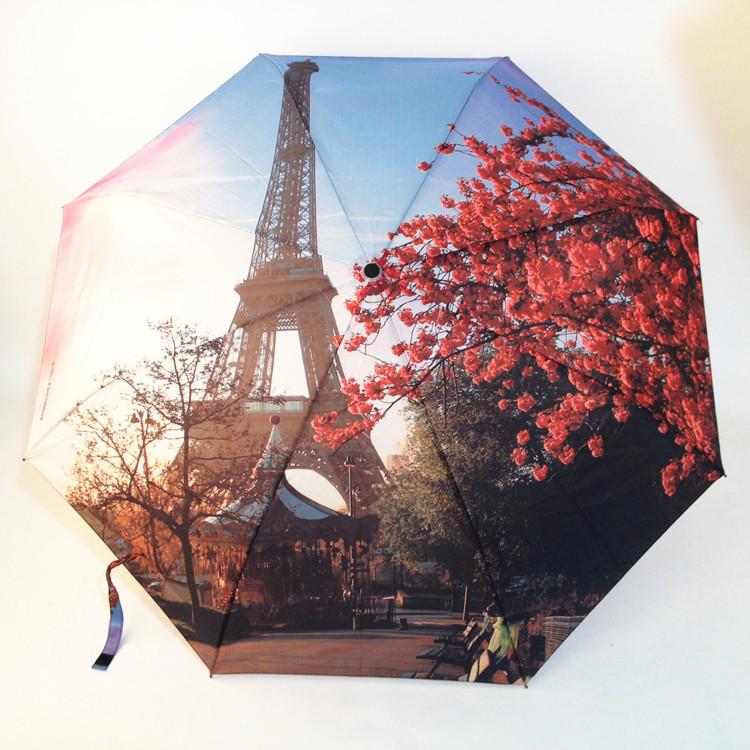 Творческий полностью автоматическая солнечный и дождливый роуз эйфелева башня зонт художественный живопись зонты Guarda Chuva зонтик подарок YS005