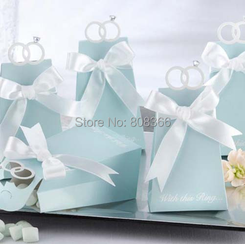With this ring Blue favor boxes For Wedding paper boxes and wedding Bombonieres 100pcs/lot Free shipping REAL Product Photo(China (Mainland))