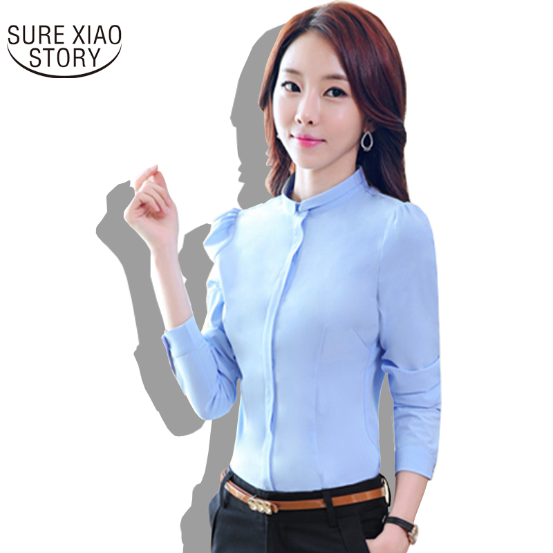 2016 New spring autumn Korean Slim Formal Commuter Solid Color Long-sleeved Shirt blouses Career Women Strand Collar Tops 288J