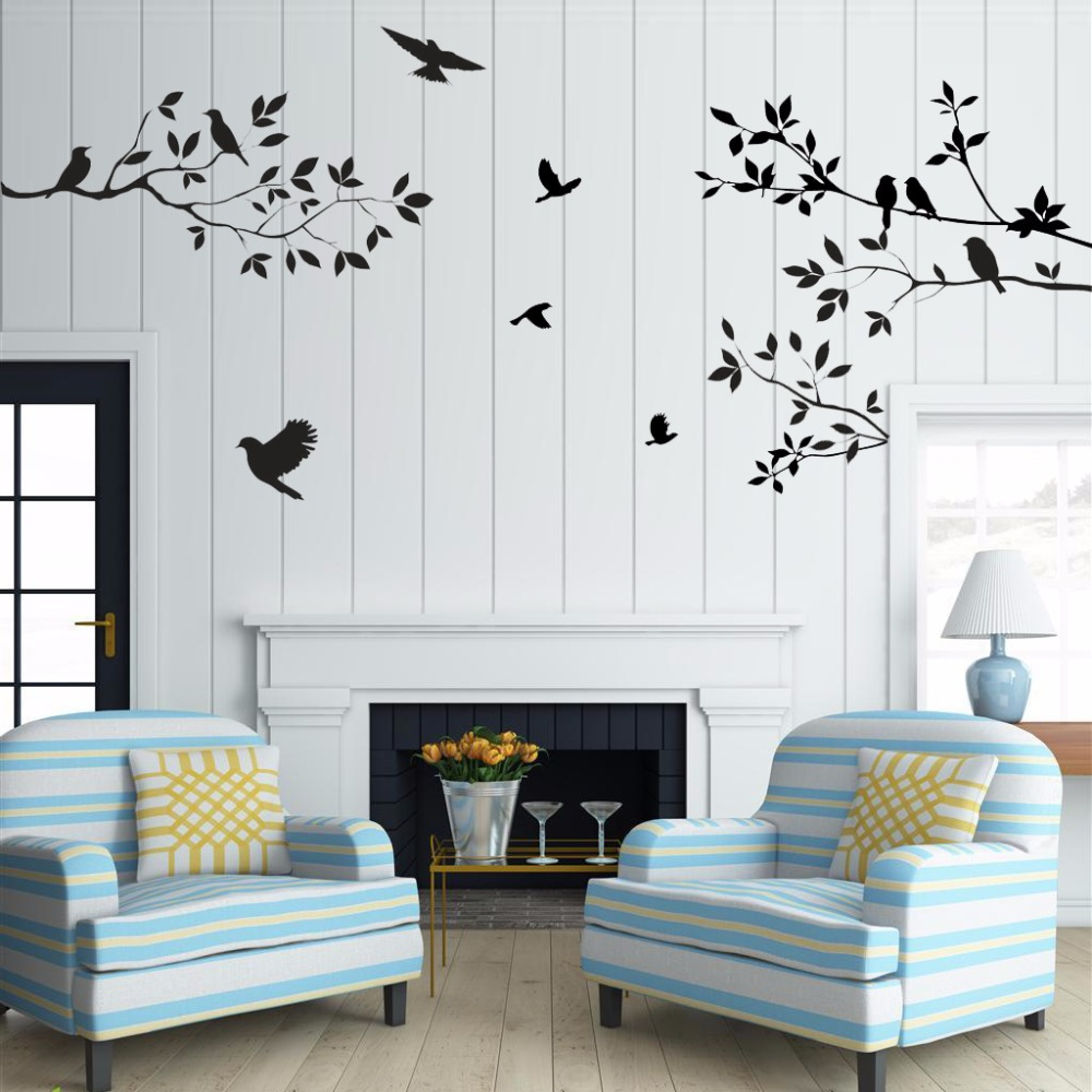 Sale birds tree wall stickers home decor living room diy for Diy photo wall mural