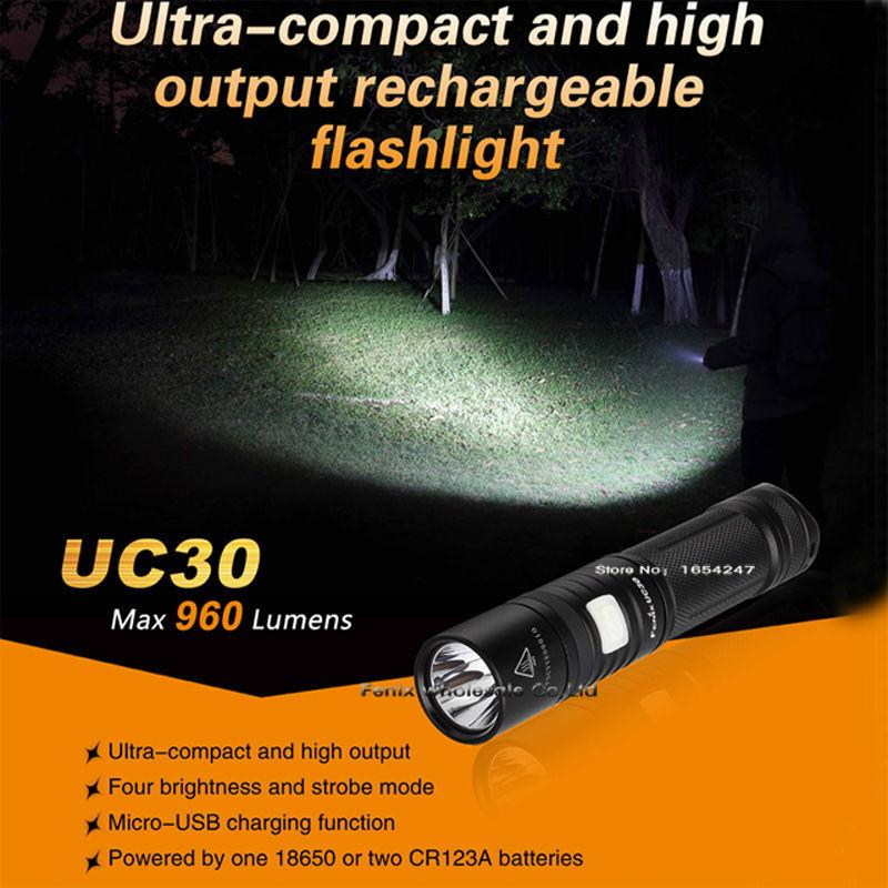 New Fenix UC30 Cree XM-L2 (U2) Flashlight 960 lumens Build-in ARB-L2 battery Micro-USB(China (Mainland))