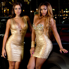 High Quality Brand New Sexy Strapless Gold Red Crystal HL Rayon Bandage Dress 2015 Ladies Charming Backless Dress(China (Mainland))
