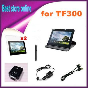 Free Shipping New 360 Degree Rotating Stand Case Cover Skin for Asus Transformer Pad TF300T TF300 TF301
