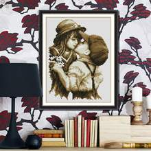 Fashion DIY Embroidery Kit Precise Printed Pure Kiss Design Handmade Needlework Cross Stitch Set Cross-Stitching Home Decoration