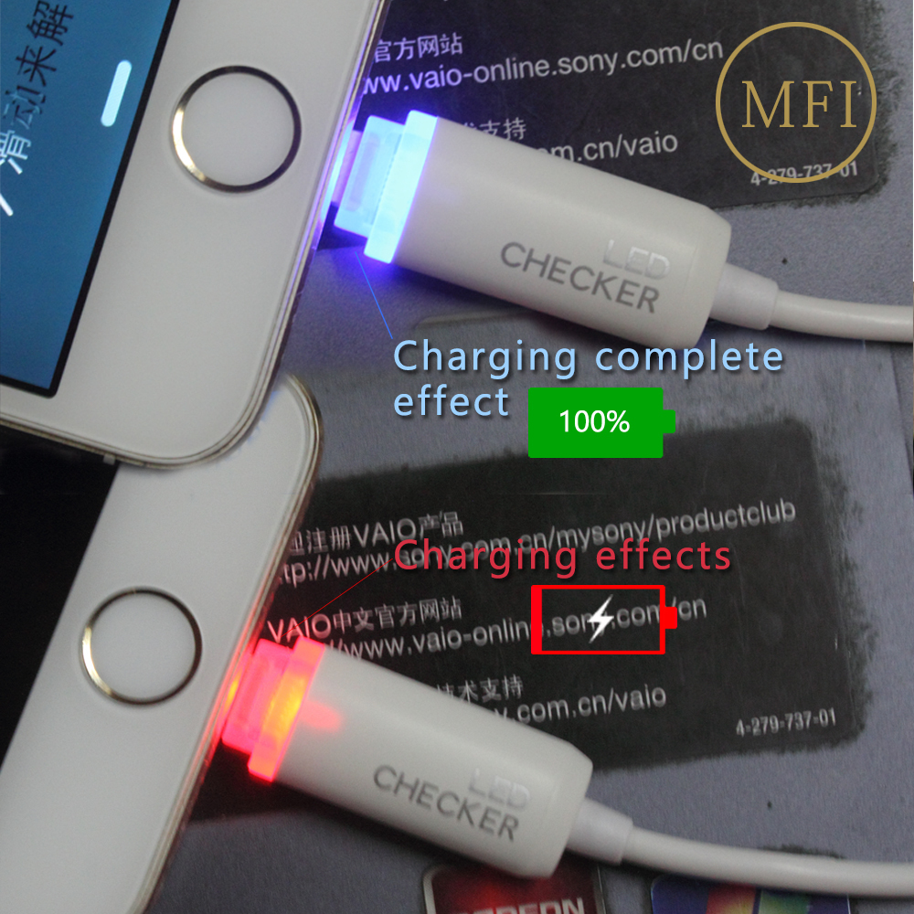 Micro Smart mini USB Fast Charger Data Sync Cable LED Lightning MFI for 8pin iphone 5 5c 5s 6 6plus android windows phone(China (Mainland))