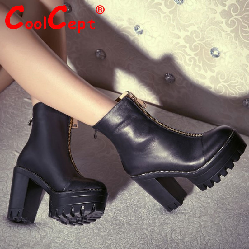 Гаджет  CooLcept Free shipping half ankle short natrual real genuine leather boots women snow boot high heel shoes R4572 EUR size 34-39 None Обувь