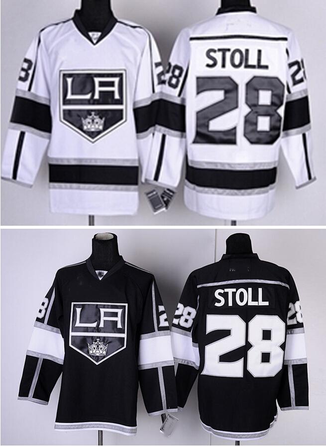Cheap Best #28 Jarret Stoll Jersey Ice Hockey Jerseys Los Angeles Kings Black White Stoll Hockey Jerseys Accept Wholesale Retail(China (Mainland))