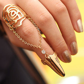 Fashion Jewelry Women Tip Chain Ring Punk Cool charms Nail Sets Finger - Lincy store