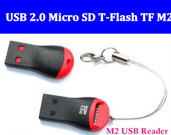 Wholesale Free Shipping High Speed USB 2.0 Micro SD T-Flash TF M2 Memory Card Reader adapter 32gb(China (Mainland))