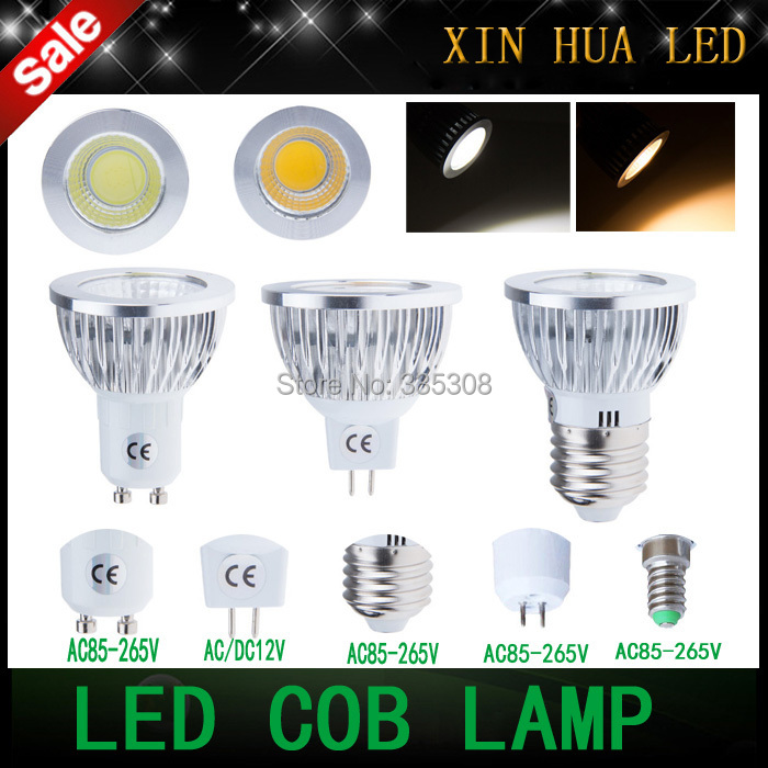 GU10 MR16 GU5.3 E27 E14 6w 9w 12w 85-265v 12V COB dimmable Spotlight led light cob lamp bulbs warm/cool white - Xin Hua Electrical LED Store store