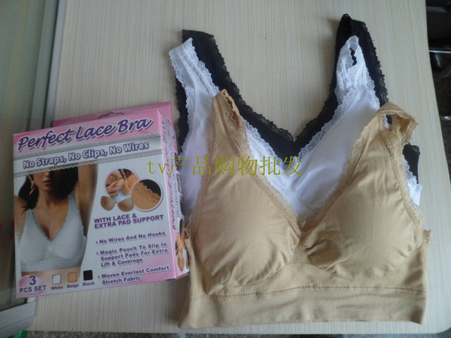 Free Shipping 3pcs/set Genie bra double layer vest lace decoration bra As Seen On TV Wholesale